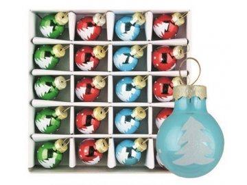 Vánoční ozdoby barevné skleněné 20ks 2cm