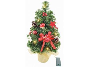 Umělý stromek vánoční s mašlí a LED osvětlením 40cm