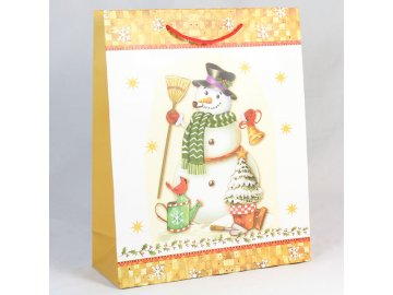 Dárková taška Sněhulák žlutá 18×24×8cm