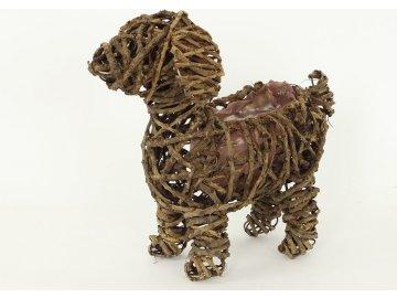 Proutěný obal ve tvaru psa 30x12x28cm
