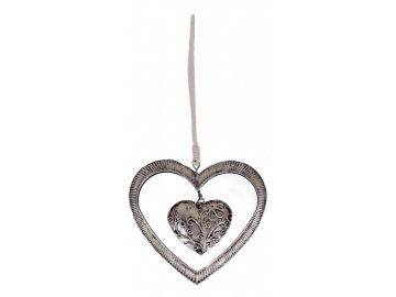 Srdce ozdoba 12x14x1 cm