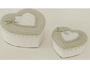 Krabička srdce | látka | sada 2ks