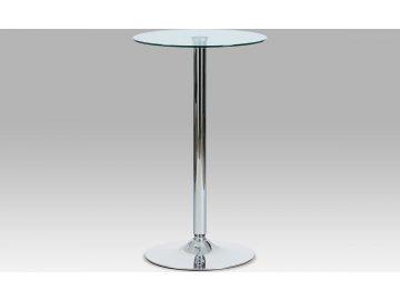 Barový stůl sklo a chrom 102x60x60cm