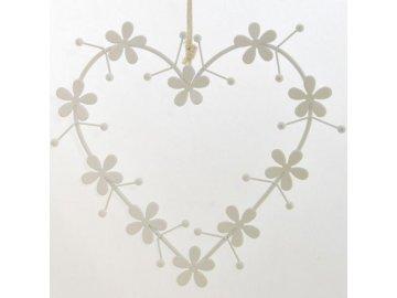 Bílé kovové dekorační srdce na zavěšení 18x17 cm
