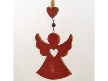 Dřevěný dekorační anděl červený