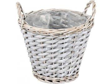 Košík proutěný s uchy šedý