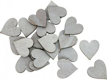 Dřevěná srdce|sada 20kusů|šedá
