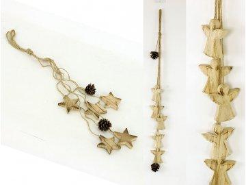 Girlanda s dřevěnou dekorací andělíčků  nebo hvězdiček