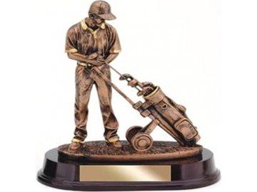 Soška Golfista s vozíkem | polyresin | 25cm