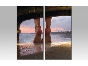 Sada obrazů 2ks nohy na pláži
