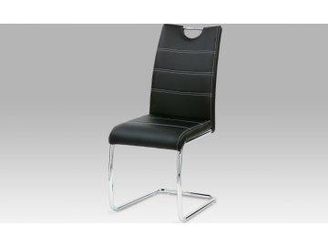 Jídelní židle | chrom | koženka s prošitím | 43x45x100x48cm