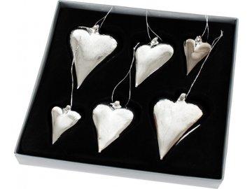 Srdce skleněné balení 6ks