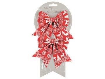 Mašle vánoční s norským vzorem set 2ks 13cm