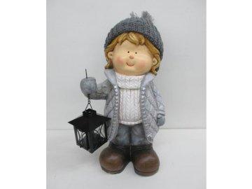 Chlapec keramická dekorace s kovovou lucerničkou na čajovu svíčku