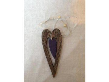 Závěs srdce lila 17cm