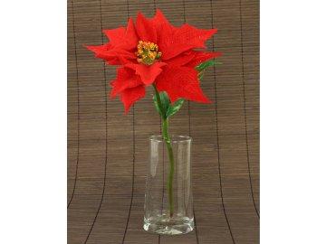Vánoční růže, poinsécie  umělá květina, červená