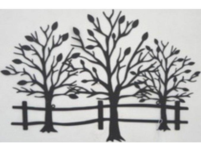 Nástěnná kovová dekorace | stromy | barva černá matná | 64x46cm