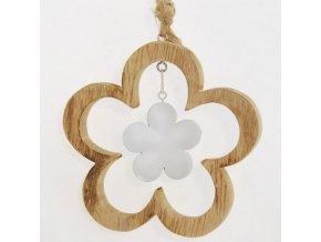 Dřevěná dekorační kytka s kovovou kytičkou 2