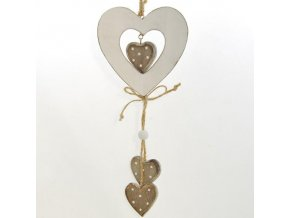 Bílé dřevěné dekorační srdce s šedými srdíčky