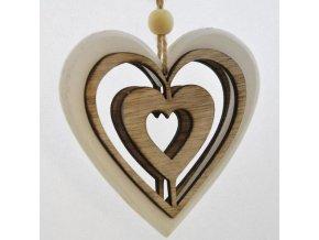 Dřevěné dekorační srdce se srdíčkem