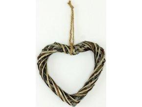Srdce z proutí barva antique šedá