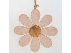 Dekorační kytka | růžová | dřevěná | na zavěšení