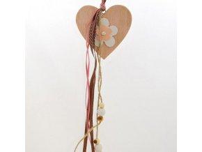 Srdce s mašlemi   dřevěné   na zavěšení