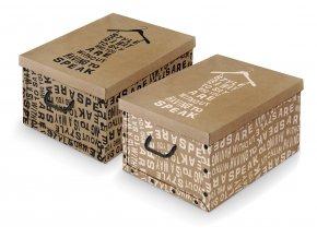 Úložný box s rukojetí s nápisy