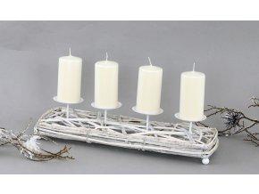 Adventní svícen z proutí obdélník barva antique bílá
