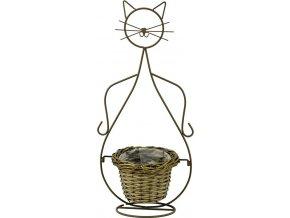 Obal proutěný s kovovým stojanem | tvar kočka