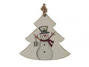 Dekorace závěsná strom sněhulák