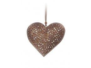 Závěs srdce kov 14x14cm