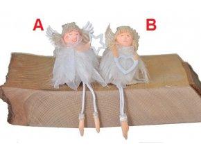 Anděl látkový bílý 8x8x5cm