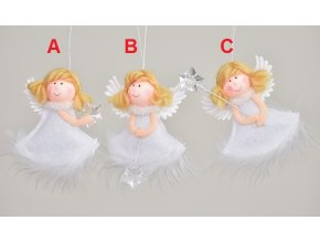 Látkový anděl bílý 9cm