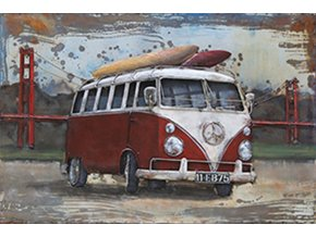 Obraz ručně malovaný | kovový | červený autobus