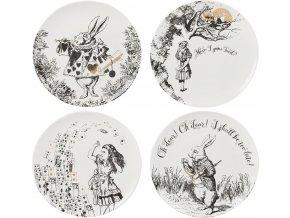 Porcelánové dezertní talíře Alice In Wonderland
