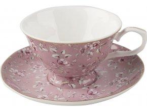 Porcelánový hrnek s podšálkem Ditsy růžový