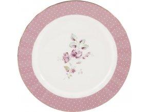 Dezertní talíř DITSY | porcelán | růžový | 19x19x1cm