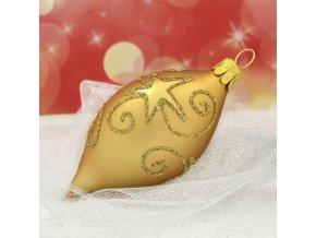 ST oliva zlatá hvězdné spirály