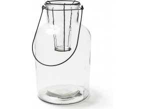Skleněná váza se svícnem na zavěšení