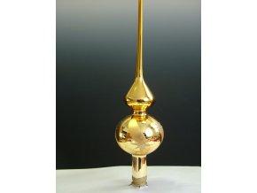 Skleněná špice | zlatý lak | zlaté hvězdy