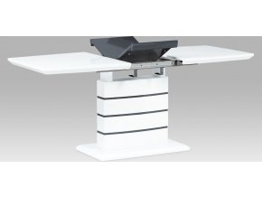 Jídelní stůl 140+40x80 cm |  vysoký lesk bílá + šedá