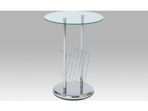 Odkládací stolek skleněný | chromová konstrukce | novinový stojan