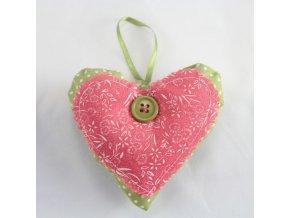 Závěsná dekorace Srdce růžové 10cm