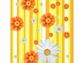 žluté proužky a květy