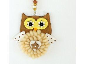Sova  s plyšem a kamínky | dřevěná dekorace na zavěšení