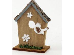 Budka s ptáčkem | dřevěná dekorace