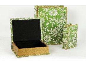 Krabička ve tvaru knihy | dřevěná potažená plátnem s potiskem | sada 3ks