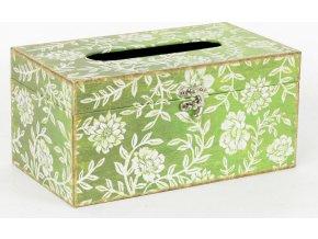 Krabička na papírové kapesníky | dřevěná | plátno s potiskem květin