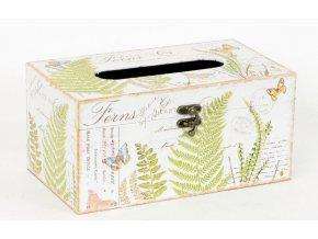 Krabička na papírové kapesníky | dřevěná | plátno s potiskem kapradí